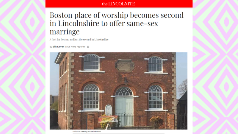 Boston Lincs Same Sex Marriage News